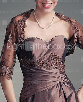 A-line Sweetheart Floor-length Taffeta Satin Mother of the Bride Dress With A Wrap