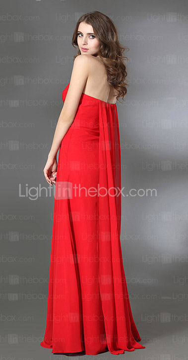 Sheath/Column Sweetheart Watteau Train Chiffon Over Stretch Satin Evening Dress