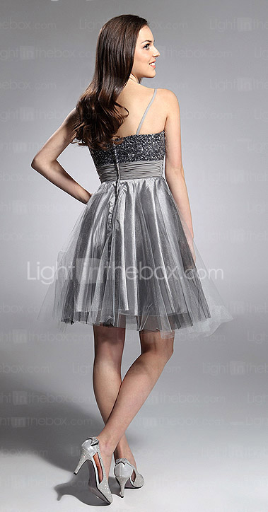 A-line Spaghetti Straps Knee-length Sequined Taffeta And Tulle Cocktail Dress