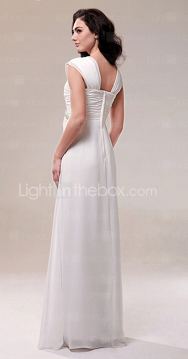 Chiffon Sheath/ Column Square Neckline Floor-length Evening Dress