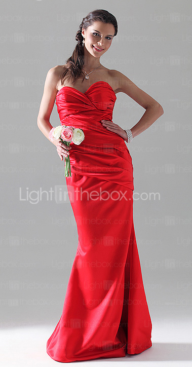 Trumpet/Mermaid Sweetheart Floor-length Satin Bridesmaid Dress