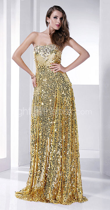 Sheath/Column  Strapless Floor-length Sequined Evening Dress