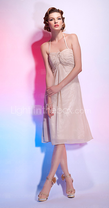 A-line Halter Neck Knee-length Chiffon Cocktail Dress