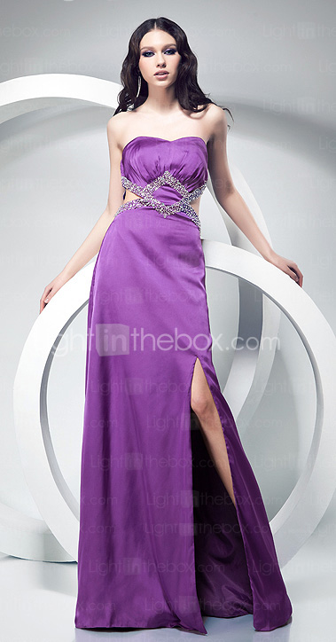 Sheath/Column Sweetheart Floor-length Elastic Woven Satin Evening Dress