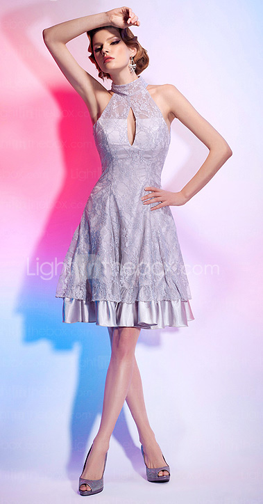 A-line High Neck Knee-length Lace Over Stretch Satin Cocktail Dress