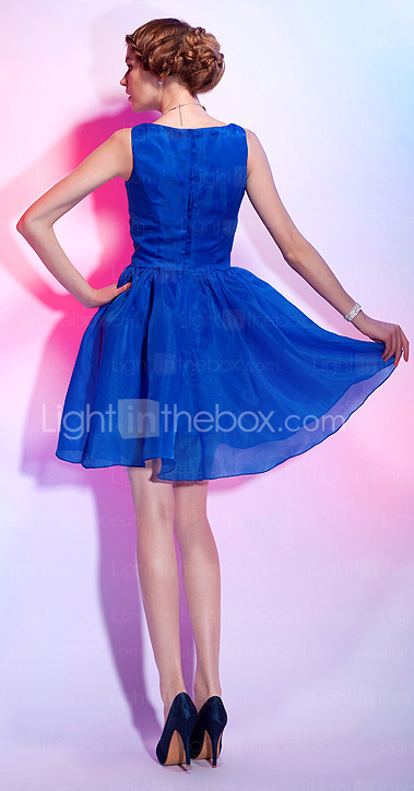 A-line Bateau Neck Short/Mini Organza Over Satin Cocktail Dress