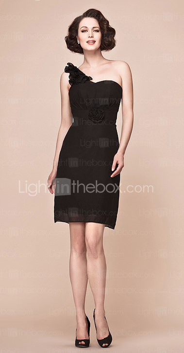 Sheath/Column One Shoulder Knee-length Chiffon Mother Of The Bride Dress