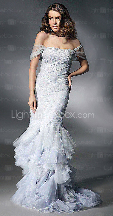 Trumpet/ Mermaid Off-the-shoulder Floor-length Satin And Tulle Evening Dress inspired by Heidi Klum at Golden Globe