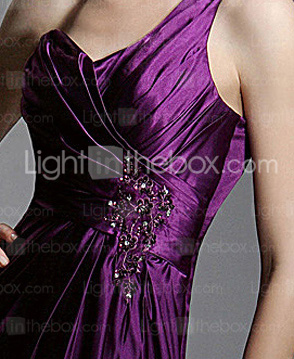 Charmeuse Sheath/ Column One Shoulder Sweep Train Evening Dress inspired by Jane Krakowski at Golden Globe