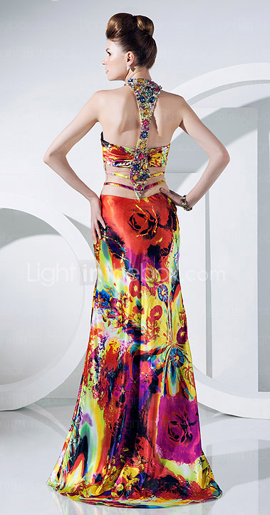 Trumpet/Mermaid Halter Floor-length Charmeuse And Tulle Evening Dress