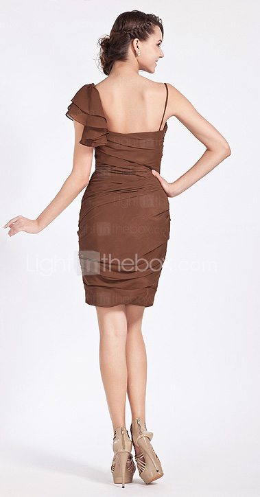 Sheath/Column Spaghetti Strap Knee-length Chiffon Bridesmaid Dress