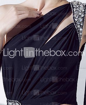 Sheath/Column One Shoulder Floor-length Jersey And Chiffon Evening Dress