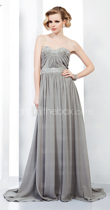 A-line  Sweetheart Chiffon Evening Dress with Beading Draping inspired by Selena Gomez at Emmy Awards