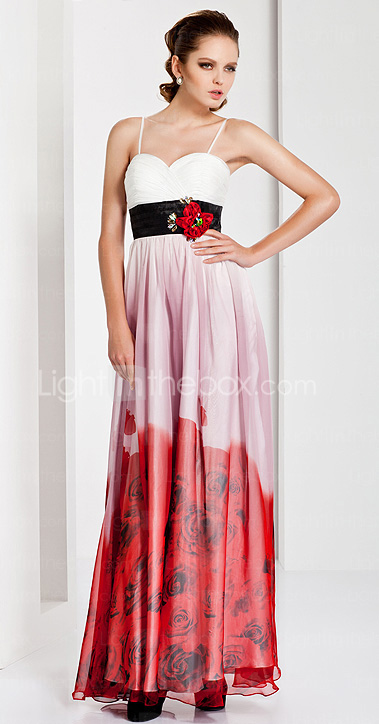 Sheath / Column Spaghetti Straps Floor-length Chiffon Evening Dress