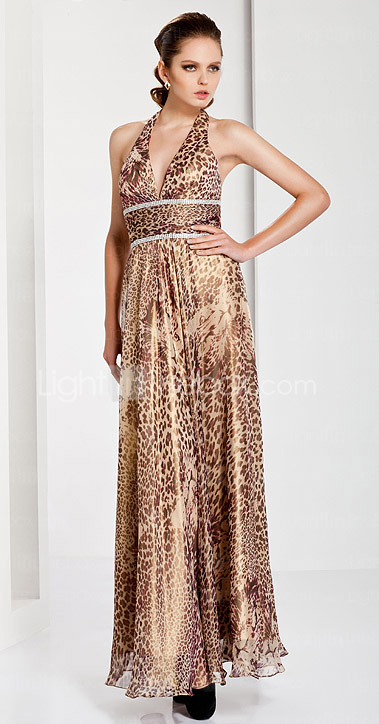 Sheath / Column Halter Floor-length Chiffon Evening Dress