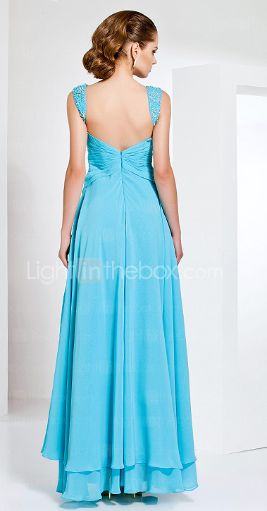 Sheath/Column Floor-length Chiffon Evening Dress With Straps