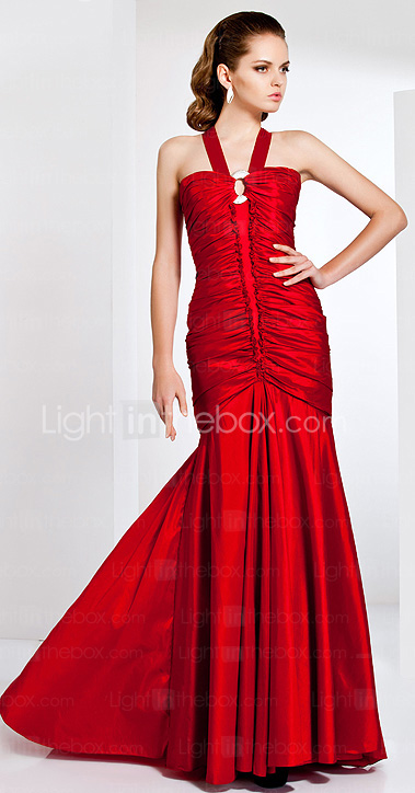 Trumpet / Mermaid Straps Sweep / Brush Train Taffeta Evening Dress