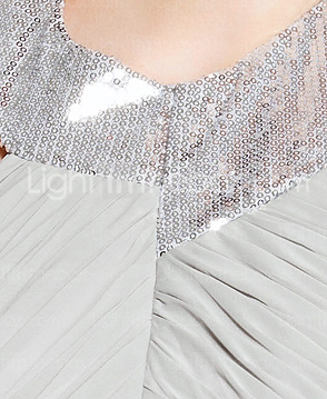 Sequined Jewel Neck Floor-length Chiffon Evening Dress