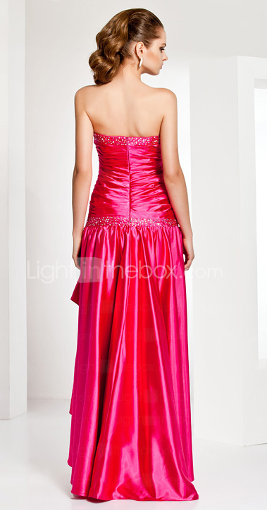 Asymmetrical Sweetheart Neck Stretch Satin Evening Dress
