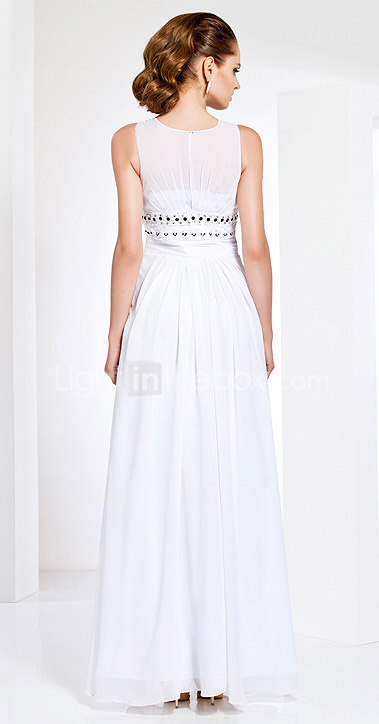 Sheath/Column Jewel Neck Floor-length Chiffon Evening Dress
