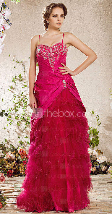 A-line Spaghetti Straps  Floor-length Taffeta  Tulle Evening Dress