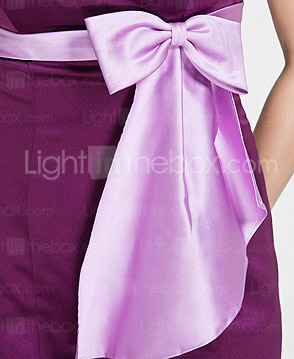 Trumpet/Mermaid Sweetheart Floor-length Satin Bridesmaid Dress With Bow(s)
