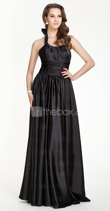 Sheath/Column Halter Floor-length Stretch Satin Bridesmaid Dress
