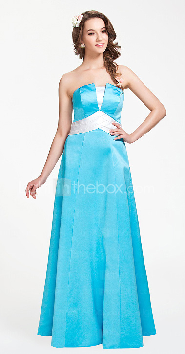 A-line Strapless Floor-length Satin Bridesmaid Dress