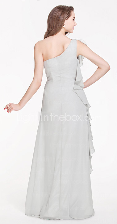 A-line One Shoulder Floor-length Chiffon Bridesmaid Dress