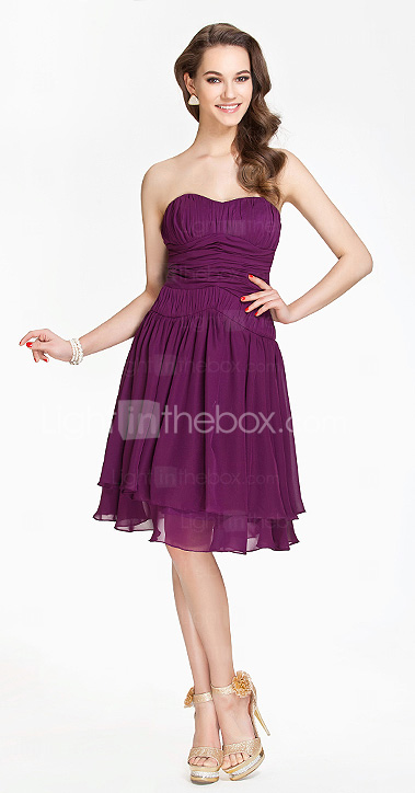 Sweetheart A-line Knee-length Chiffon Bridesmaid Dress