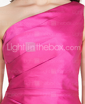 Sheath/Column One shoulder Short/Mini Stain Bridesmaid Dress