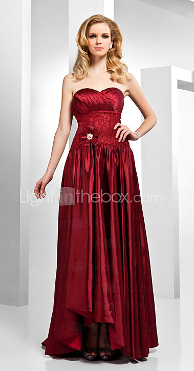A-line Sweetheart Asymmetrical Floor-length Stretch Satin Lace Evening Dress