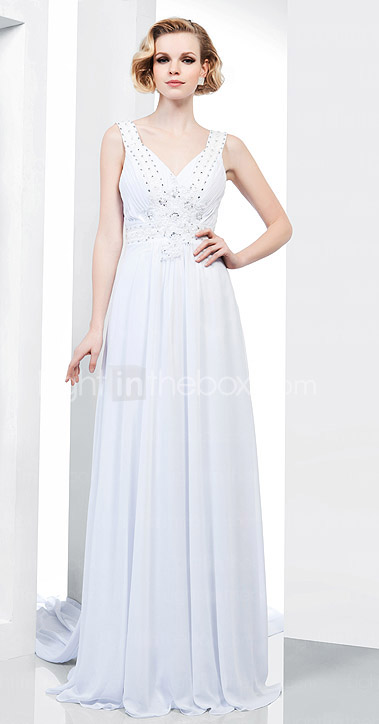 Sheath/ Column V-neck Watteau Train Chiffon Lace Evening Dress