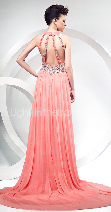 Sheath/Column Halter Court Train Chiffon Evening Dress