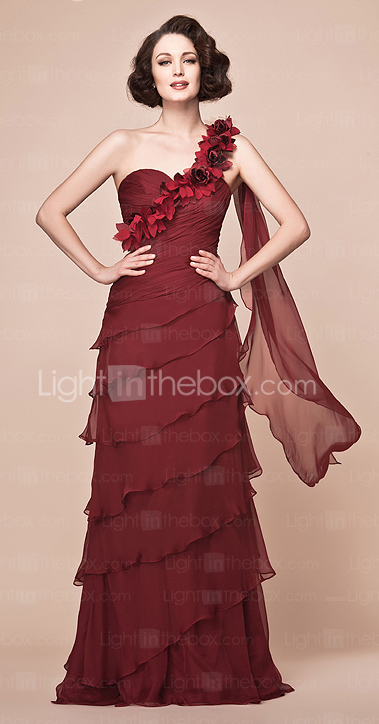 A-line One Shoulder Floor-length Chiffon Mother of the Bride Dress