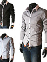 Slim Fit Fashion Mens Shirt with Contrast Color Collar Long Sleeve