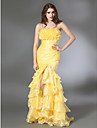 Trumpet/ Mermaid Strapless Floor-length Organza Taffeta Evening Dress
