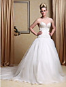 Ball Gown Strapless Chapel Train Wedding Dress