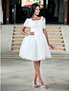 Ball Gown Knee-length Organza Wedding Dress With Wrap 