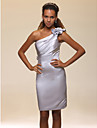 Sheath/Column One Shoulder Knee-length Satin Cocktail Dress