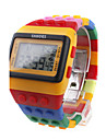 Multi-Color Block Brick Style Automatic Wrist Watch with Night Light