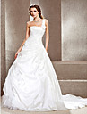 A-line One Shoulder Cathedral Train Taffeta Wedding Dress