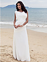 Side-Draped Sheath/Column Bateau Floor-length Chiffon Wedding Dress 
