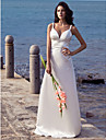 Sheath/Column Straps V-neck Court Train Elastic Woven Satin Wedding Dress