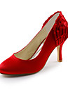 Satin Stiletto Pumps With Flower For Wedding (More Colors)