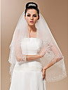 One-tier Tulle With Pearls Fingertip Length Veil (More Colors)