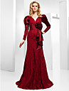 Trumpet/ Mermaid V-neck Floor-length Lace And Stretch Satin Evening Dress