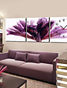 12 &quot;-24&quot; Modern Style Bloemen Klok van de Muur in Canvas 3pcs