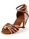 Women's Satin / Rhinestone Upper Ankle Strap Salsa / Latin Dance Shoes With Pearl