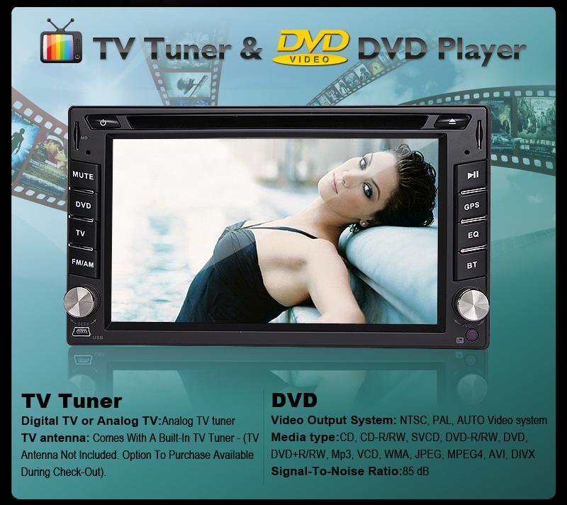 "HD 3D Menu 2 DIN 6 2"" GPS Car DVD Player iPod BT Radio SD Map Free Backup Camera"